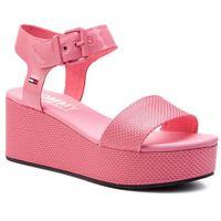 Sandały - material mix flatform sandal en0en00561 geranium pink 669 marki Tommy jeans