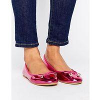 RAID Bow Pink Metallic Ballet Flats - Pink