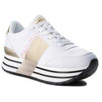 Sneakersy jeans - coretta re9807 white/gold marki Calvin klein
