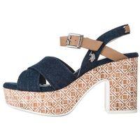 U.s. polo assn tanisha jeans buty na obcasie niebieski brązowy 36