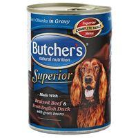 BUTCHER'S Superior z wołowiną, kaczką i zielonym groszkiem - kawałki w sosie 3x400g + 400g + 45g