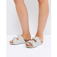 The March Bow Cream Spot Slide Chunky Flat Sandals - Cream