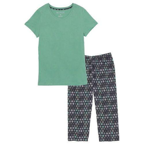 Piżama ze spodniami 3/4 bonprix zielony szałwiowy - czarny z nadrukiem, w 2 rozmiarach