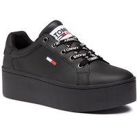 Sneakersy TOMMY JEANS - Iconic Leather Flatform Sneaker EN0EN01113 Black BDS