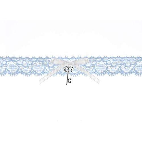 Podwiązka koronkowa z kokardką, błękitny (5901157494665)