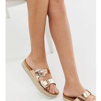 flatform espadrille flat sandal in gold - grey marki New look