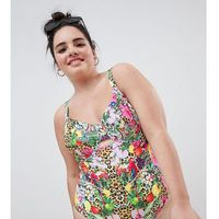 Asos design curve underwired swimsuit in festival tropical print - multi, Asos curve, M-XL
