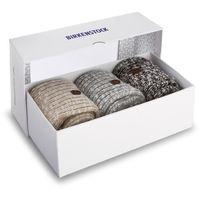 Zestaw 3 par wysokich skarpet damskich BIRKENSTOCK - Gift Box Xmas 1005920 Black Beige Gray, kolor szary