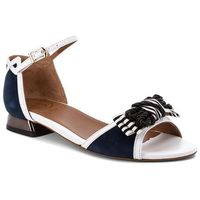 Sandały BALDOWSKI - D02235-3211-001 Skóra Biała/Zamsz Granat, kolor niebieski