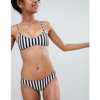 Monki mono stripe bikini brief in Black And White Stripes - Multi, w 3 rozmiarach