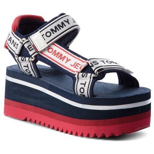 Tommy jeans Sandały - tommy jeanstechnical sandal en0en00342 midnight 403