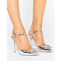 Asos peppermint embellished pointed high heels - silver