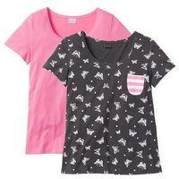 Bonprix Shirt z krótkim rękawem (2 szt.) jaskrawy jasnoróżowy - antracytowy melanż z nadrukiem