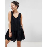 Minkpink gardenia tiered mini beach dress - black