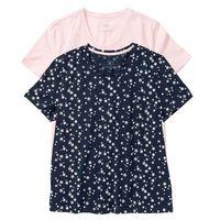 Koszulka do spania (2 szt.) bonprix ciemnoniebieski z nadrukiem + perłowy jasnoróżowy gładki