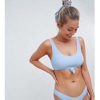 Peek & beau fuller bust exclusive knot crop bikini top in powder blue rib dd - g cup - blue