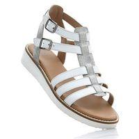 Sandały skórzane bonprix biało-srebrny, w 4 rozmiarach