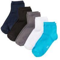 Krótkie skarpetki (5 par) niebieski + szary + czarny + biały + turkusowy marki Bonprix
