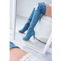 Niebieskie Kozaki Denim Style, kolor niebieski