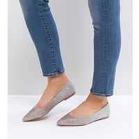 Asos latch wide fit pointed ballet flats - multi, Asos design