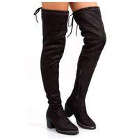 Buty obuwie damskie Muszkieterki na wygodnym obcasie rb06 grey