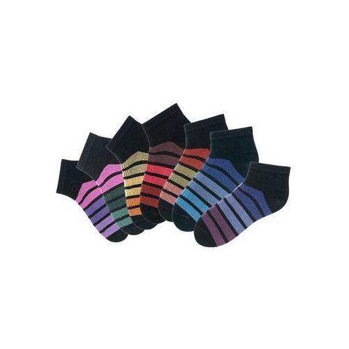 Skarpetki damskie stopki h.i.s (7 par) czarny w kolorowe paski marki Bonprix