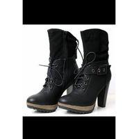 4021-2 buty/kozaki zawiązywane - czarny, Sinly shoes