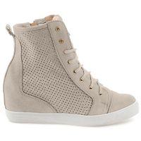 Beżowe ażurowe sneakersy Alessa, kolor beżowy