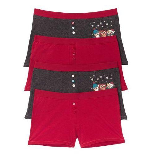 Bokserki damskie (4 pary) ciemnoczerwono-antracytowy melanż z nadrukiem, Bonprix, S-M