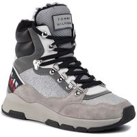 Tommy hilfiger Sneakersy - tommy sparkle sporty boot fw0fw04635 metallic silver 0k4