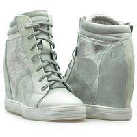 Sneakersy 93106 szare/srebrne zamsz, Nessi