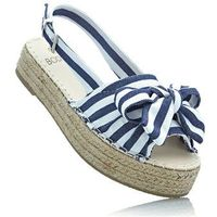 Sandały na koturnie niebieski dżins - biały w paski, Bonprix, 39-42