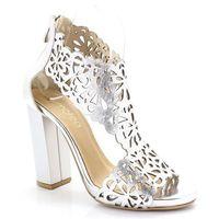2702 srebrne- laserowa wycinanka sandały - srebrny, Tymoteo