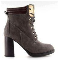 Buty obuwie damskie Timberki na obcasie szare ns05p grey