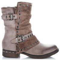 Lady glory Modne i firmowe botki damskie buty na każdą okazję wykonane z wysokiej jakości skóry ekologicznej khaki (kolory)