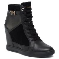 Sneakersy TOMMY HILFIGER - Hardware Sneaker Wedge FW0FW04303 Black 990