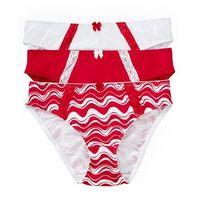 Figi (3 pary), bawełna organiczna bonprix drukowany + czerwony + biały, kolor wielokolorowy