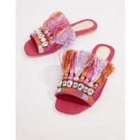 sliders with front embellishment and tassel detail - pink, River island