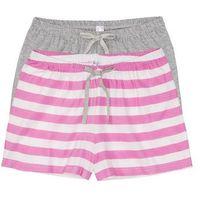 Szorty (2 pary) różowo - biel wełny w paski + jasnoszary melanż marki Bonprix