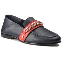 Półbuty - chain detail corporate loafer fw0fw03396 tommy navy 406, Tommy hilfiger