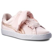Puma Sneakersy - basket heart canvas 366495 02 pearl/puma white/rose gold