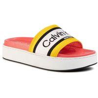 Klapki - jaimee b4e7951 black/scuba yellow marki Calvin klein