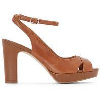 Sandały skórzane na platformie z krzyżującymi się paskami marki La redoute collections