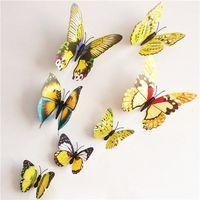 Naklejki 3d motyle z magnesem żółty, 12 szt., marki 4home