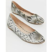 Truffle collection easy ballet flats in snake - grey
