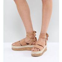 Lost Ink Natural Beige Ankle Tie Flatform Sandals - Beige