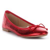 Modne Balerinki Damskie z Kokardką Czerwone (kolory), kolor czerwony