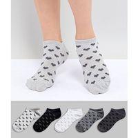 Oysho 5 Pack Trainer Socks Heart and Stripe Printed - Multi