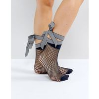 ASOS Fishnet Stripe Bow Strap Ankle Socks - Multi