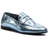 Lordsy TOMMY HILFIGER - Crackle Metallic Flat Loafer FW0FW03929 Aqua Haze 447, kolor niebieski